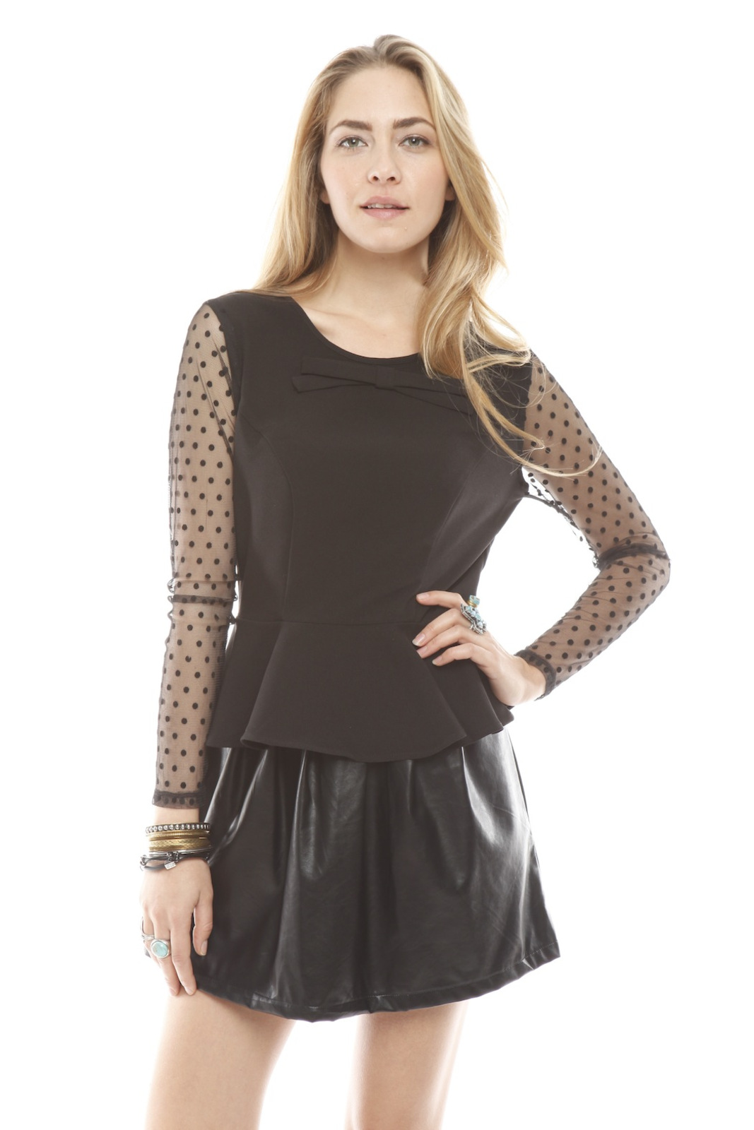 Darling Sheer Sleeve Peplum Top - Main Image