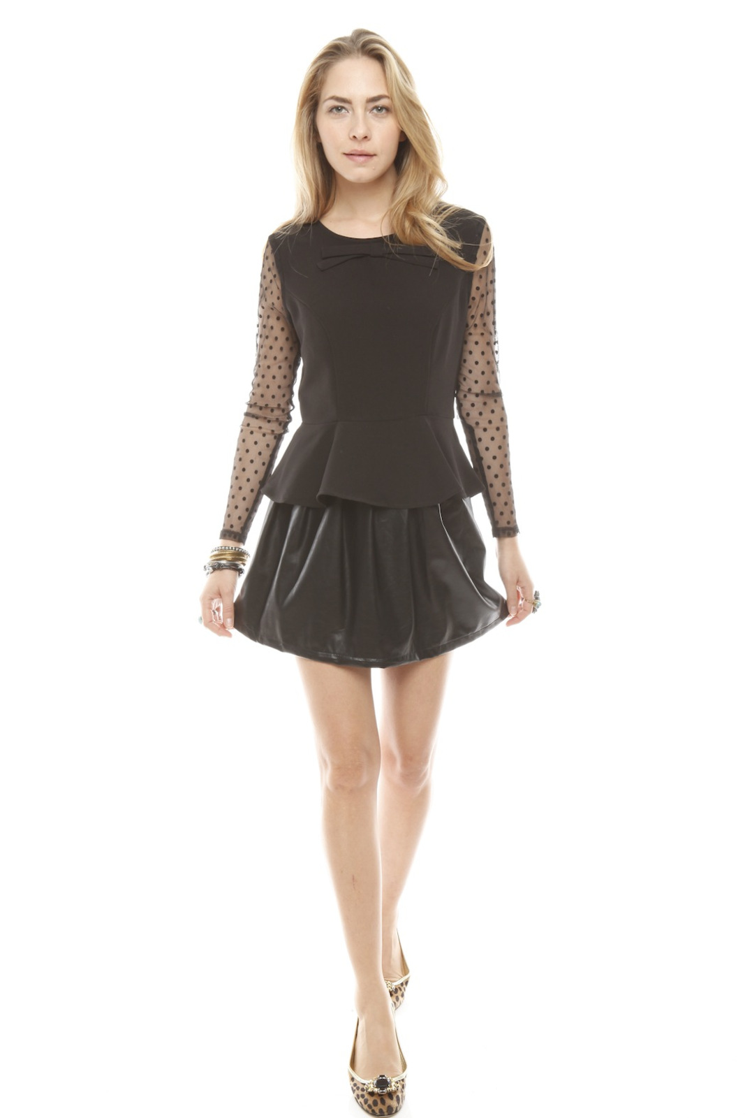 Darling Sheer Sleeve Peplum Top - Front Full Image