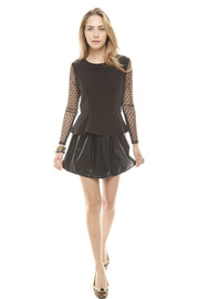 Darling Sheer Sleeve Peplum Top - Front full body