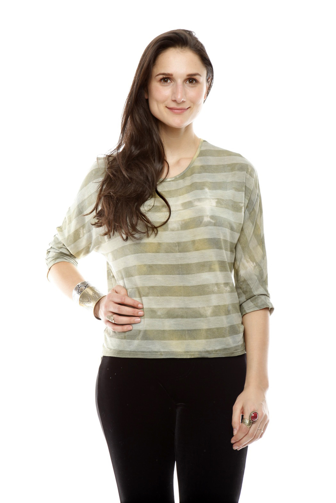 The Cue Striped Tie-Dye Top - Main Image