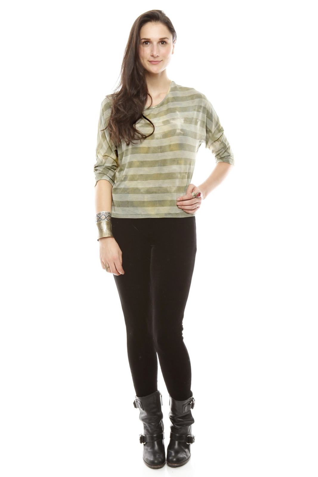 The Cue Striped Tie-Dye Top - Front Full Image