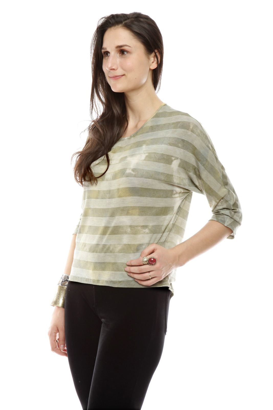 The Cue Striped Tie-Dye Top - Side Cropped Image