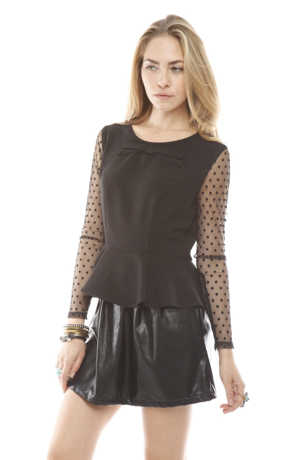 Darling Sheer Sleeve Peplum Top - Side Cropped Image