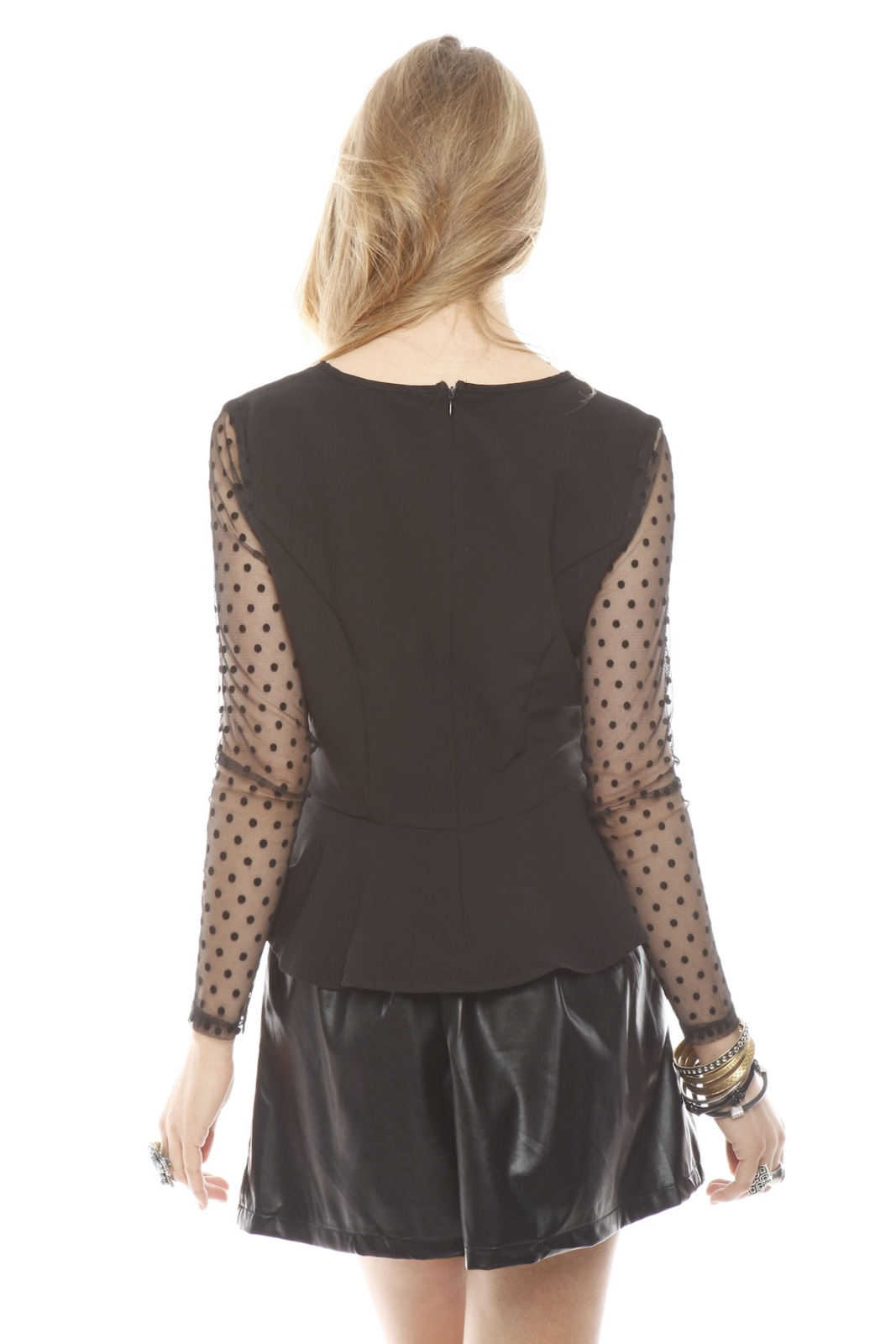 Darling Sheer Sleeve Peplum Top - Back Cropped Image