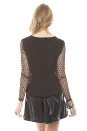 Darling Sheer Sleeve Peplum Top - Back cropped