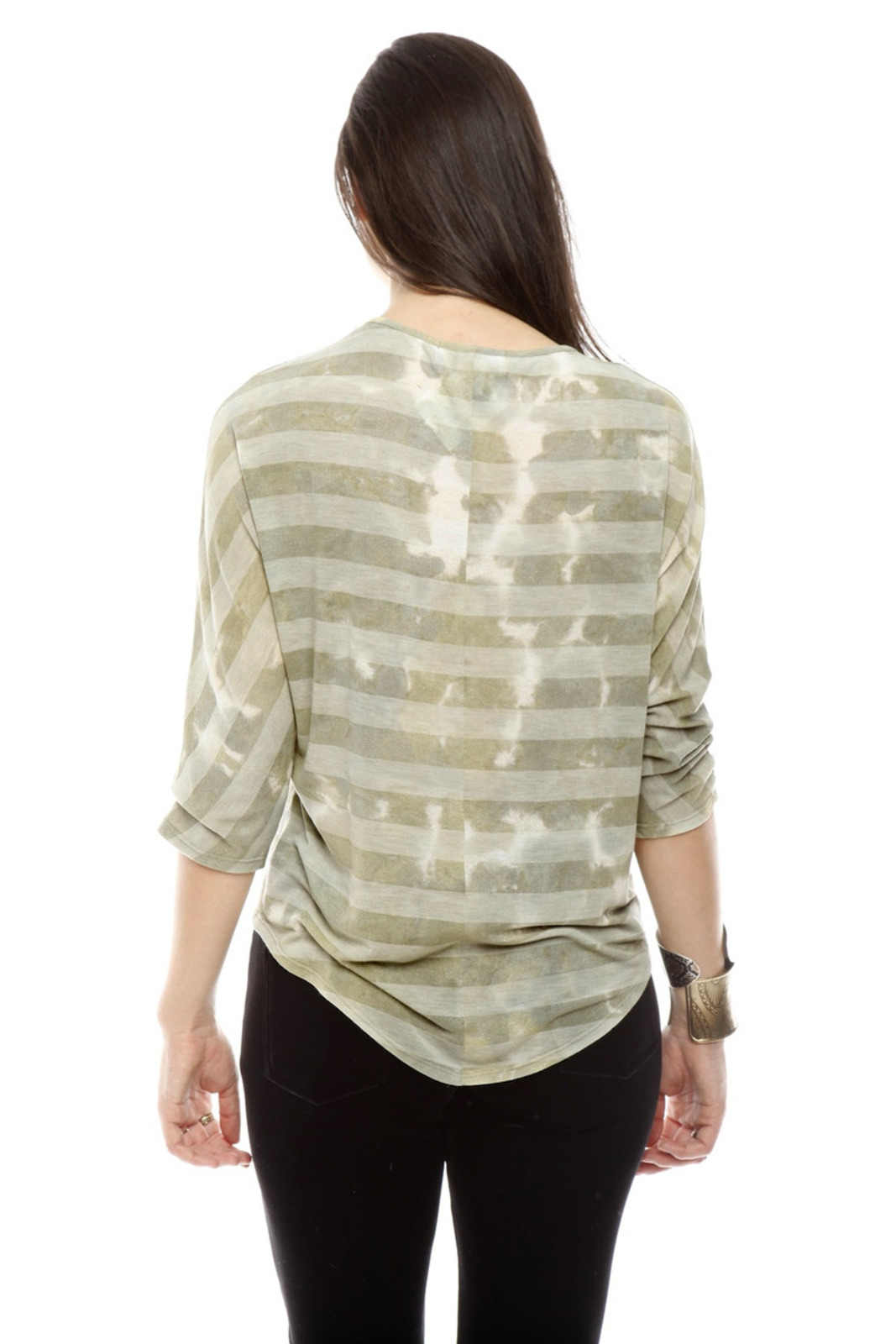 The Cue Striped Tie-Dye Top - Back Cropped Image