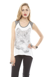 Lauren Moshi Wolf Face Drawing Tank - Front cropped