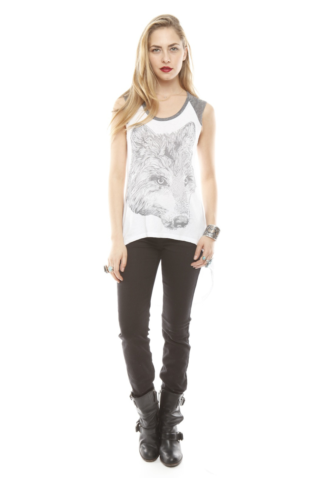 Lauren Moshi Wolf Face Drawing Tank - Front Full Image
