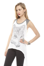 Lauren Moshi Wolf Face Drawing Tank - Side cropped