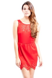 Shoptiques Product: Red Laser Cut Dress