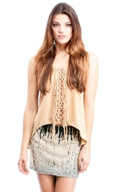 Shoptiques Product: Tan Fringe Tank