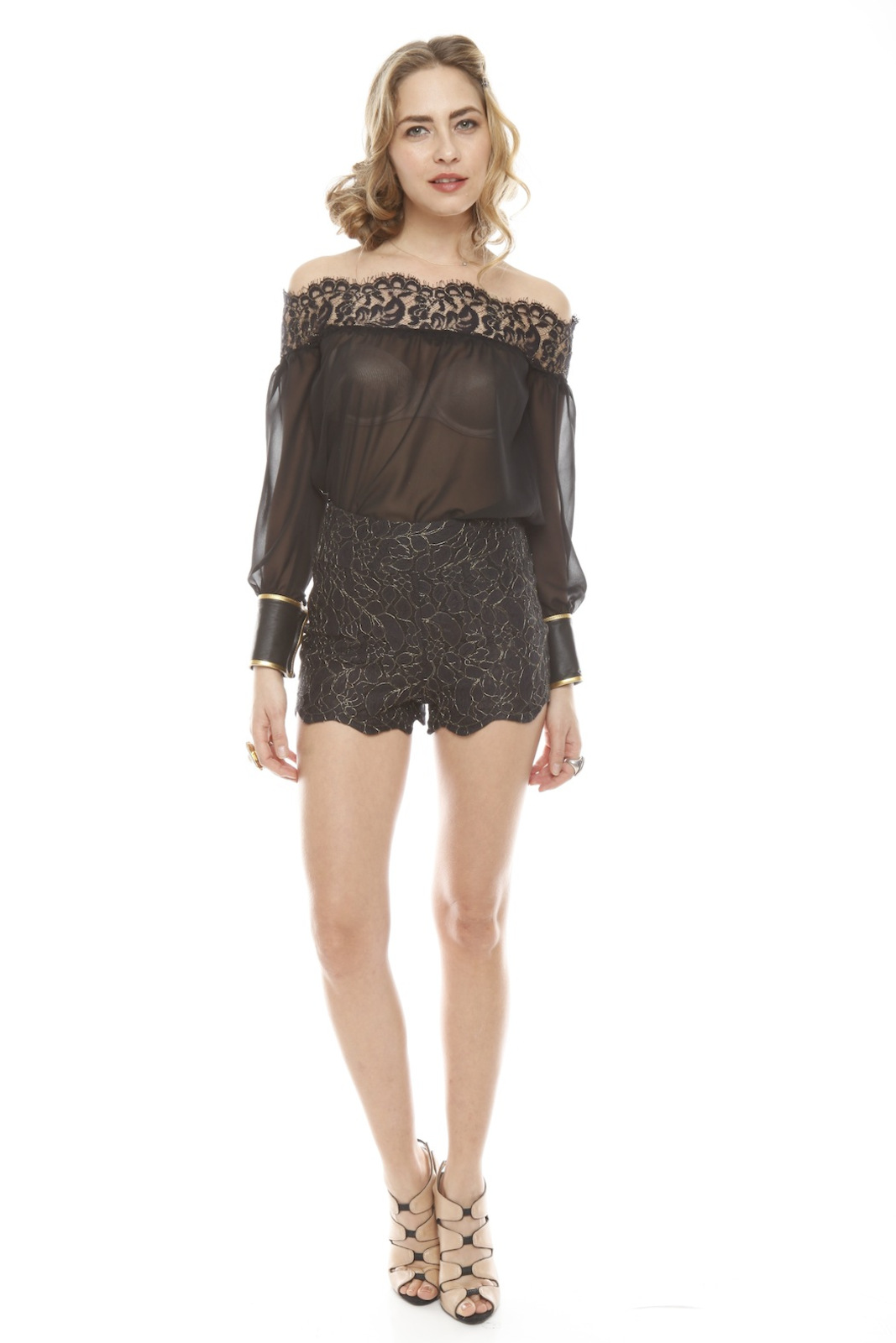 Patricia Del Castillo Lace High-Waist Shorts - Front Full Image