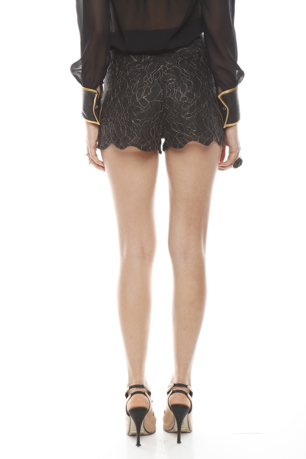 Patricia Del Castillo Lace High-Waist Shorts - Back Cropped Image