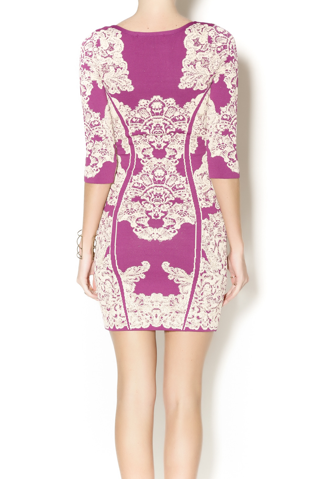 Wow Couture Damask Body Con Dress - Back Cropped Image