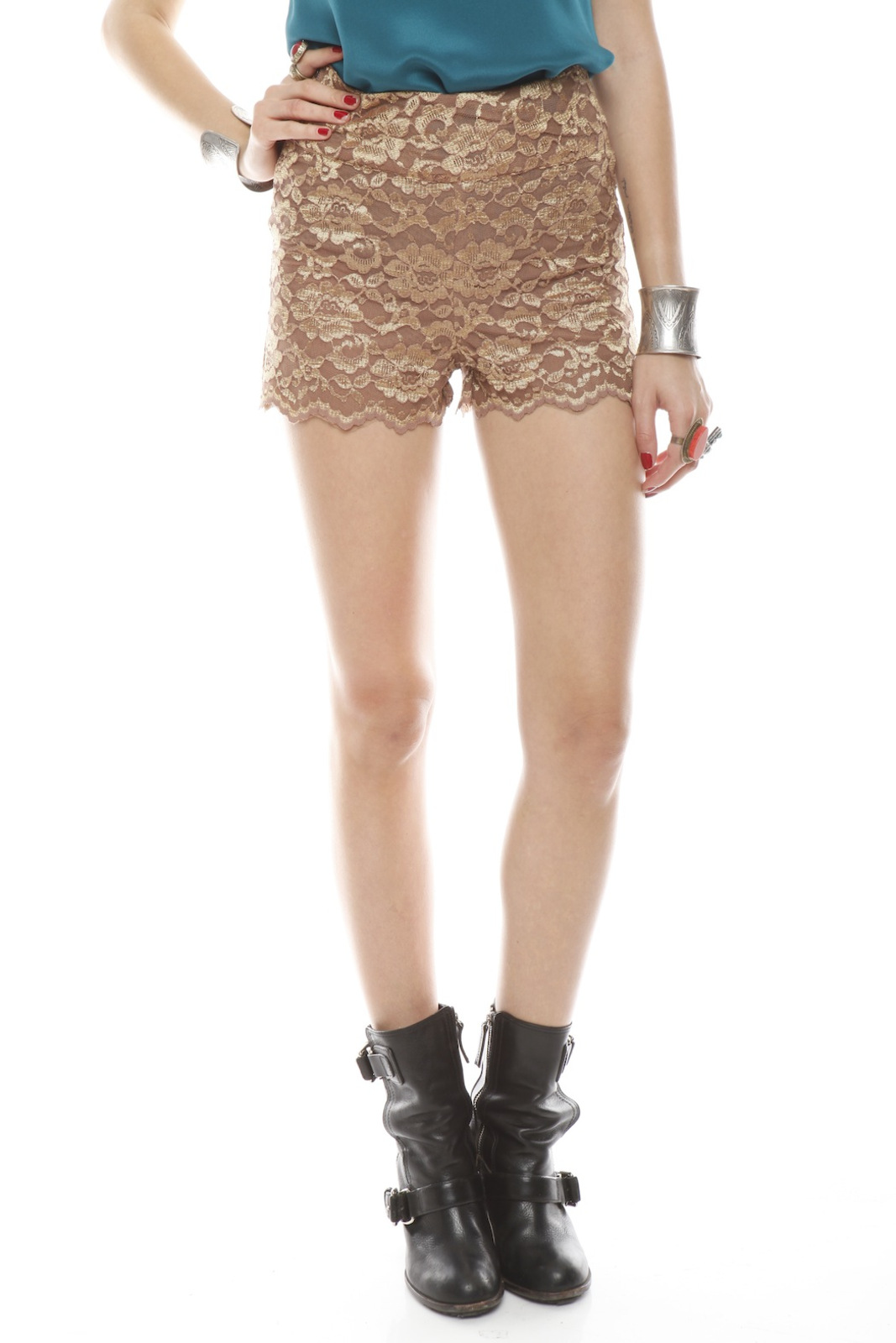 Patricia Del Castillo Lace High-Waist Shorts - Front Cropped Image