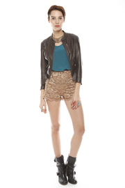 Patricia Del Castillo Lace High-Waist Shorts - Other