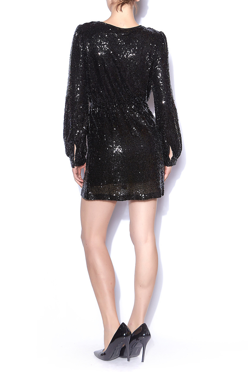 Honey Punch Black Sequin Wrap Dress From Mississippi By