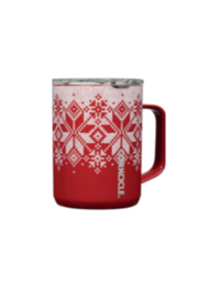 Corkcicle 16OZ RED FAIRISLE MUG - Front cropped