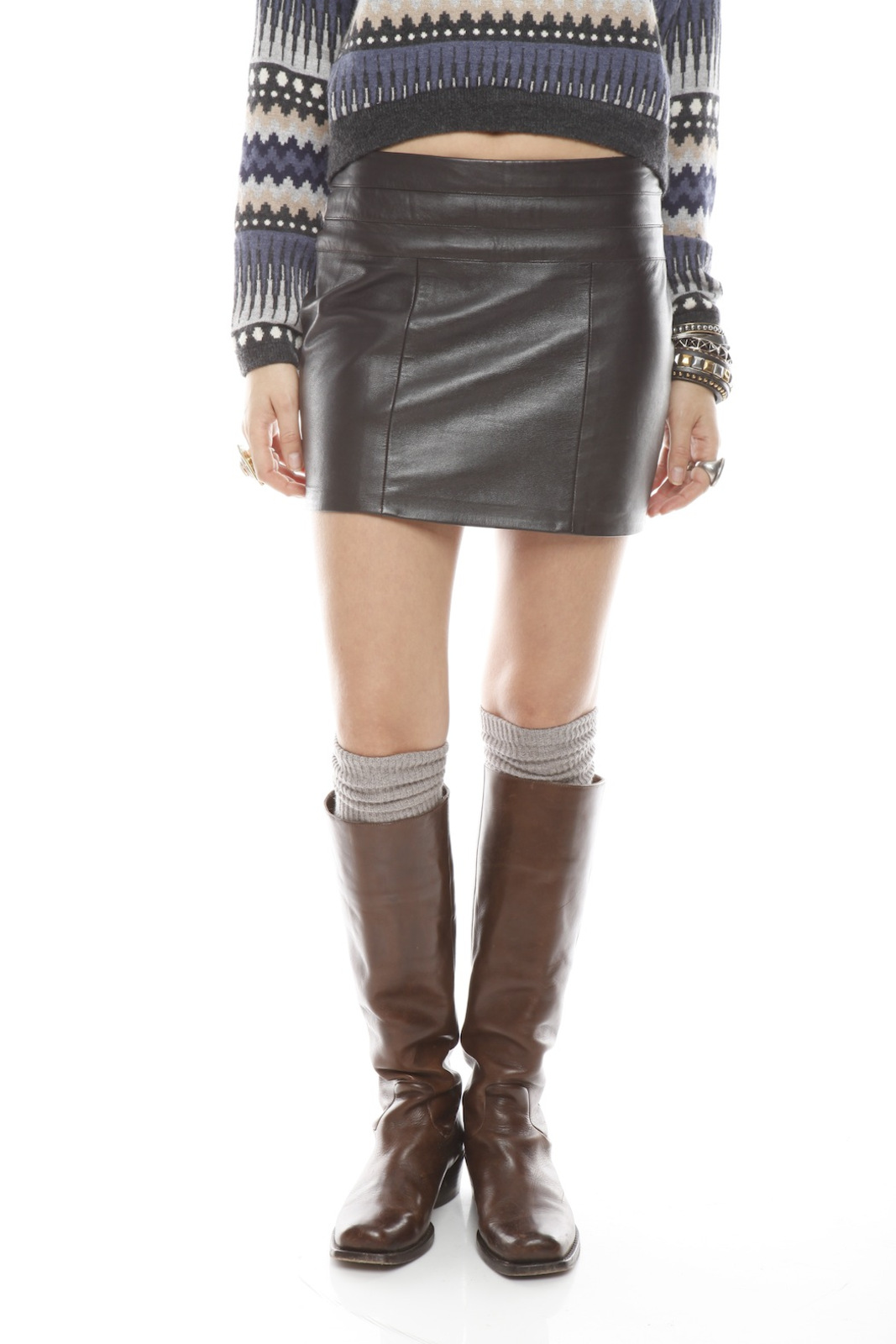 Patricia Del Castillo Brown Leather Mini Skirt from Long Island ...