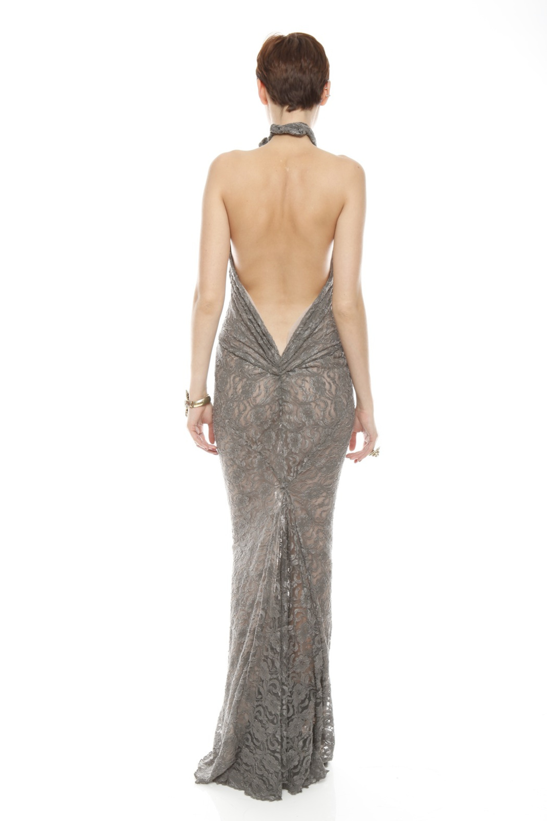 Patricia Del Castillo Long Backless Gown - Side Cropped Image