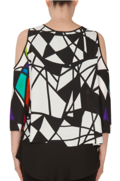 Joseph Ribkoff 172614 - Graphic top with Cold Shoulder - Alternate List Image