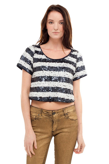Shoptiques Product: Cropped Sequin Top - main