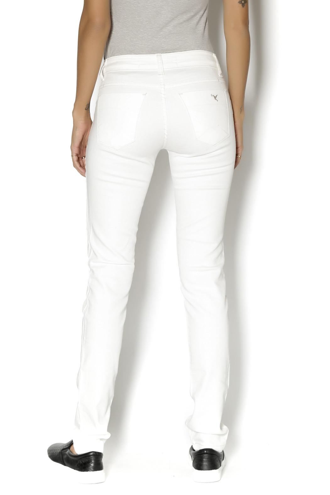 Beija Flor White  Denim - Back Cropped Image