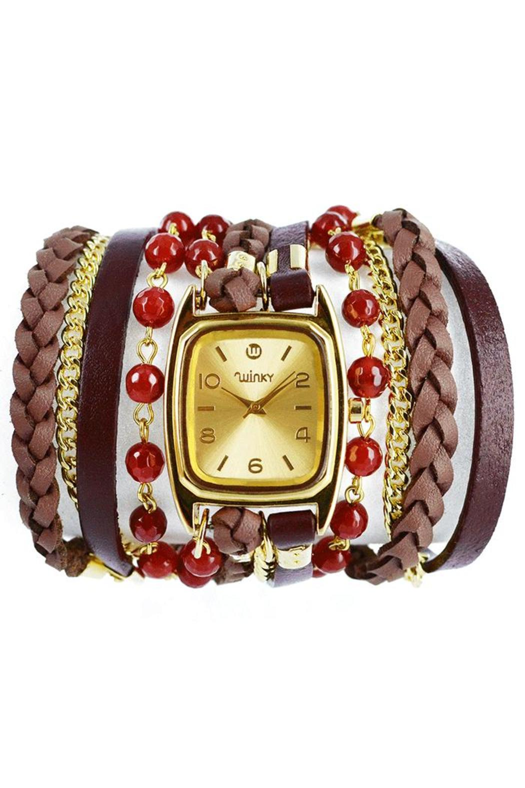 Winky Designs Red Carnelian Wrap Watch - Front Cropped Image