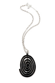 Shoptiques Product: Large Oval Pendant Necklace - Front cropped
