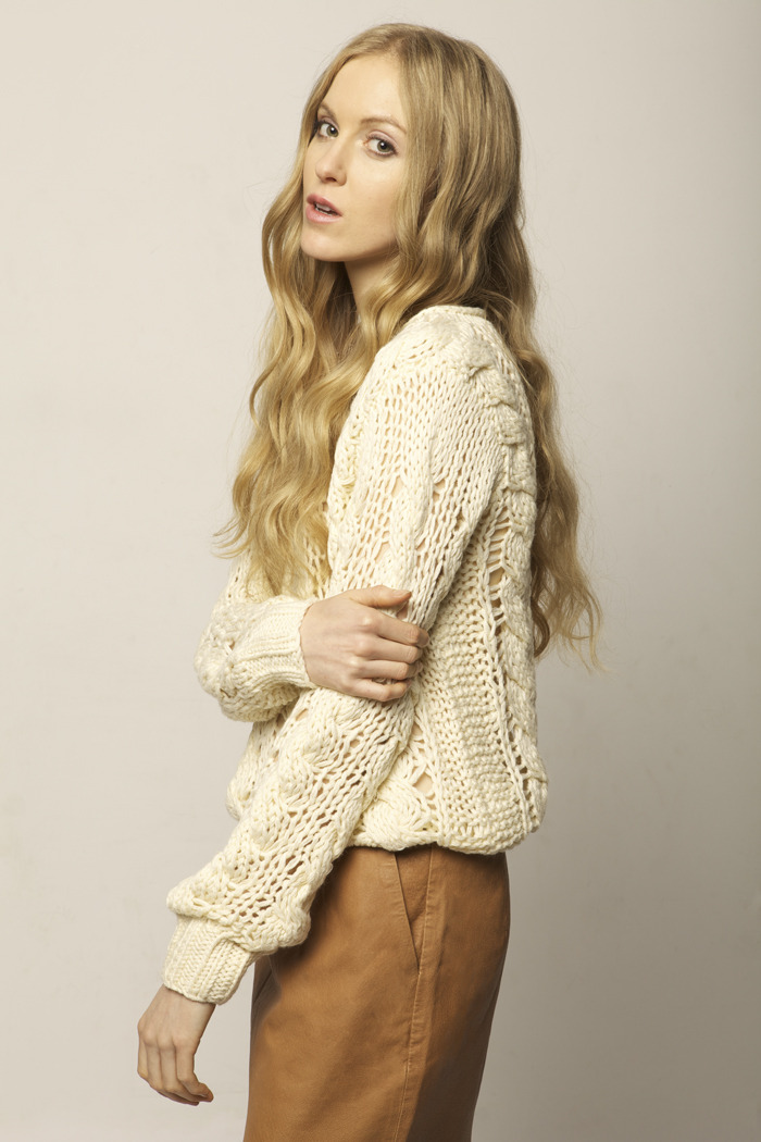 Cream Knit Sweater - Side Cropped Image