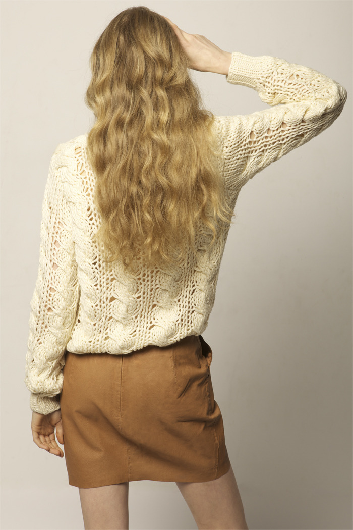 Cream Knit Sweater - Back Cropped Image