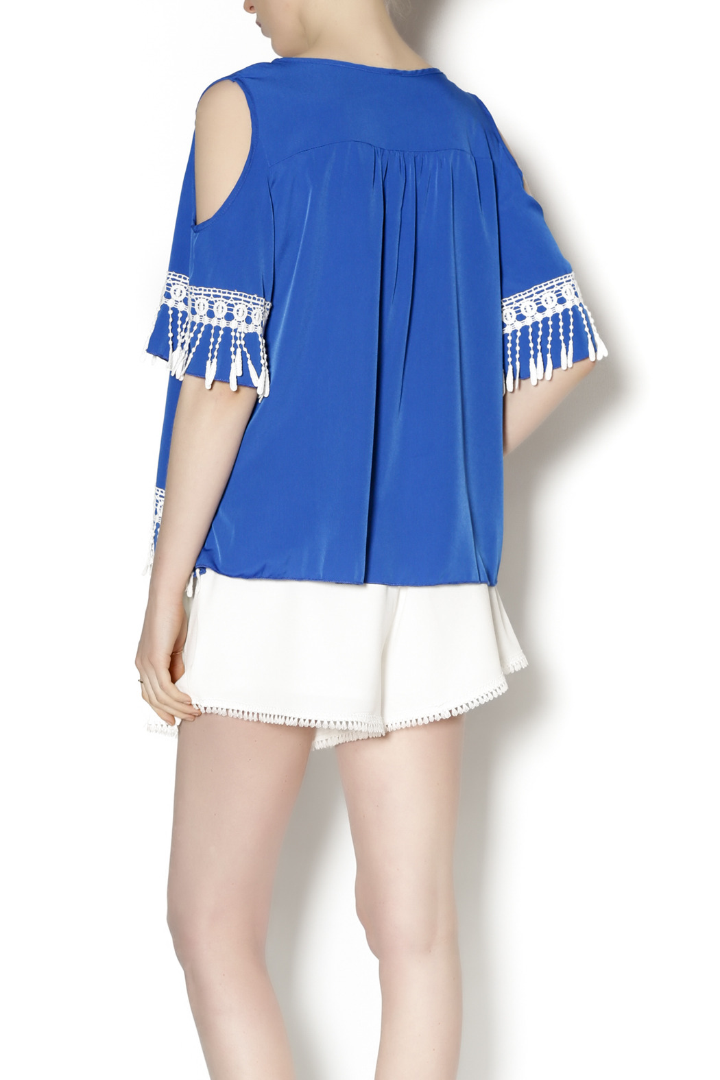 Abby & Taylor Blue Crochet Trim Tunic - Back Cropped Image