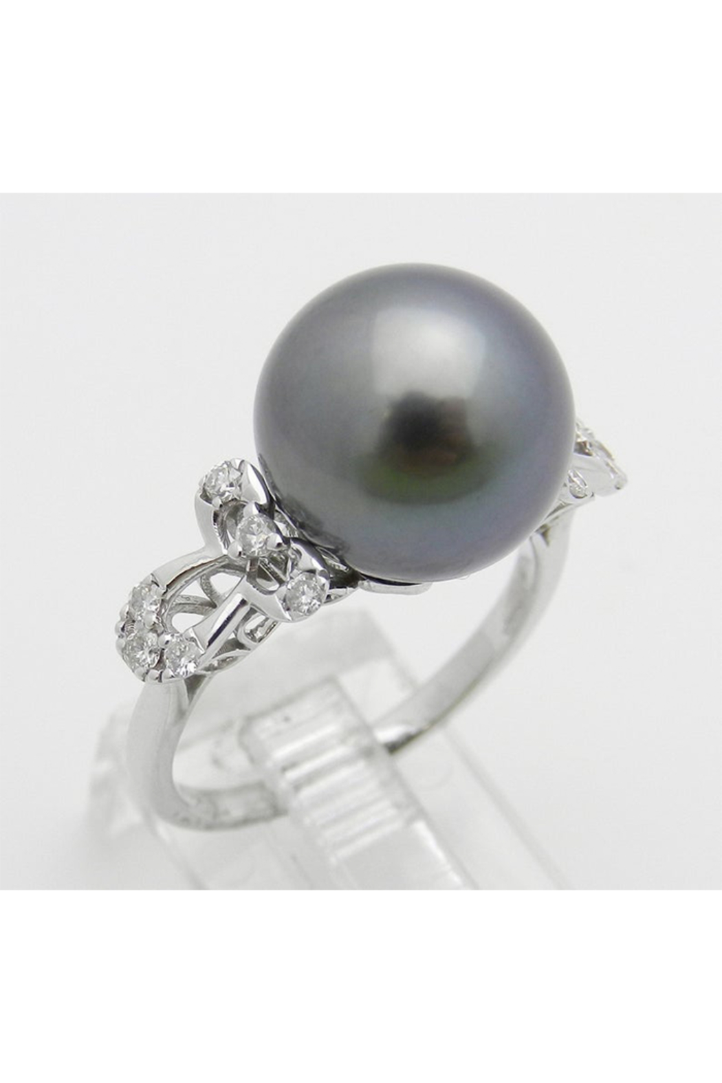 Margolin & Co 18K White Gold Diamond and Black Pearl Engagement Ring June Birthstone Size 6.5 FREE Sizing - Front Full Image