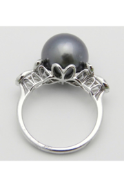 Margolin & Co 18K White Gold Diamond and Black Pearl Engagement Ring June Birthstone Size 6.5 FREE Sizing - Back cropped