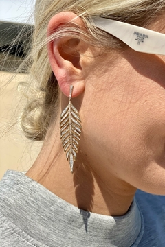 Jen Collection  18K Yellow Gold Baguette Feather Earrings (4.13ct) - Product List Image
