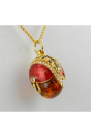 Margolin & Co 18K Yellow Gold over Sterling Silver Red Enamel and Amber Swarovski Crystal Pendant with Chain 18
