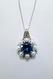 ... 18kt White Gold Blue Topaz & Pearl Necklace - Product Mini Image