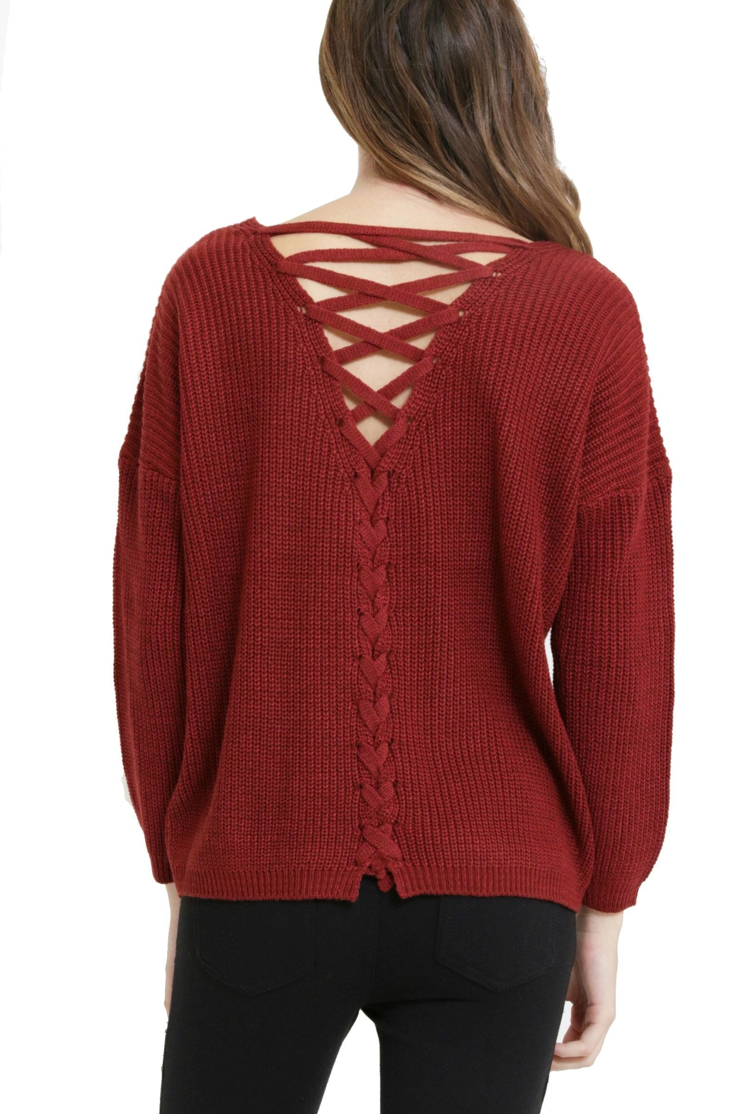 1 Funky Laceup Back Sweater - Front Cropped Image