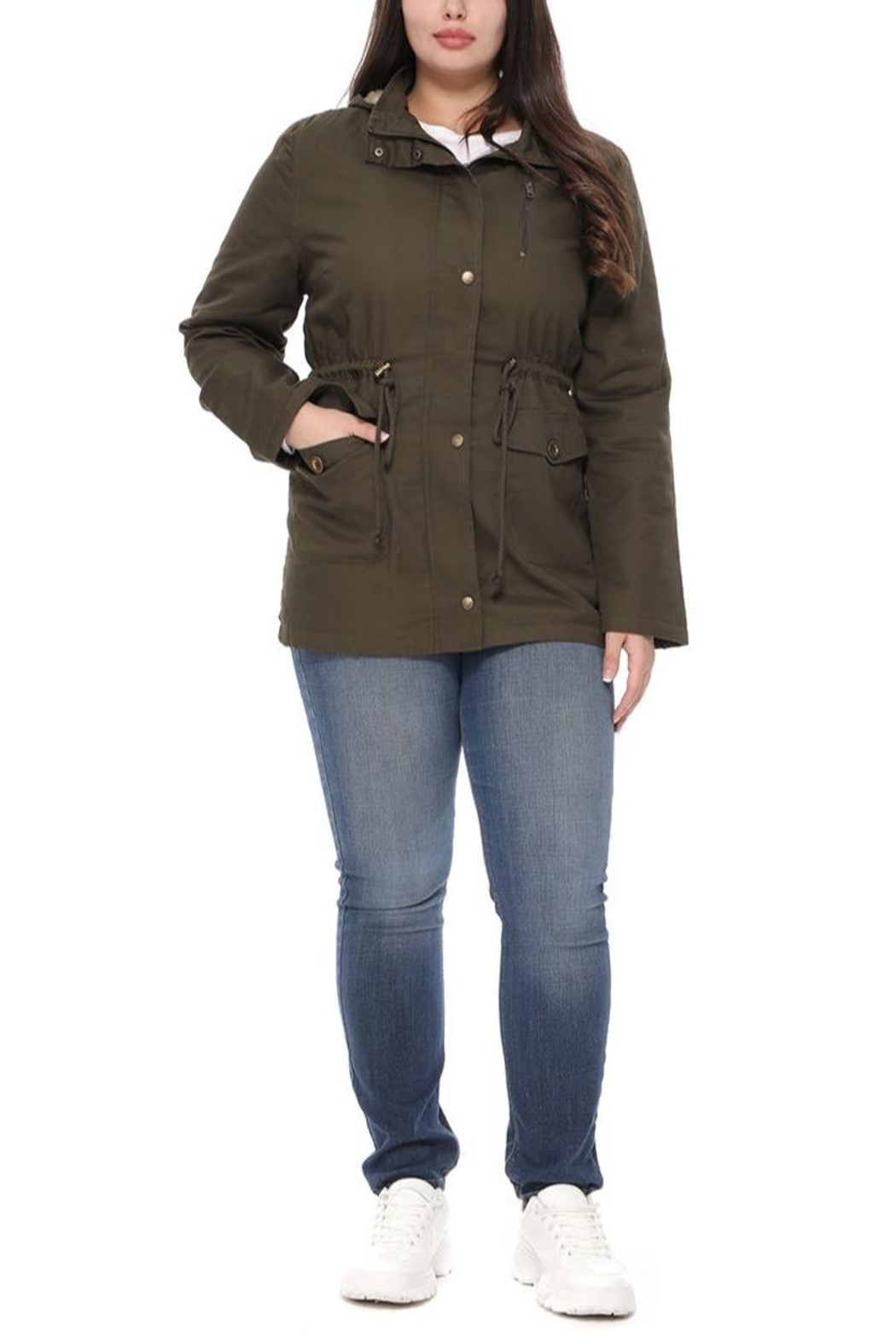1 Funky Military Plussizejaket Furinside - Side Cropped Image