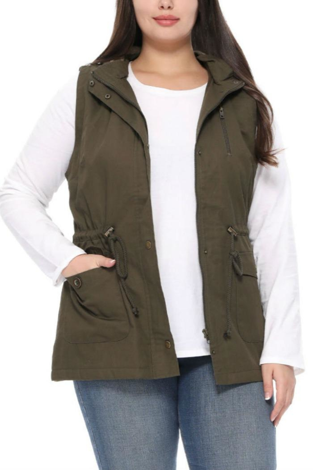 1 Funky Plus Size Military Vest - Front Cropped Image