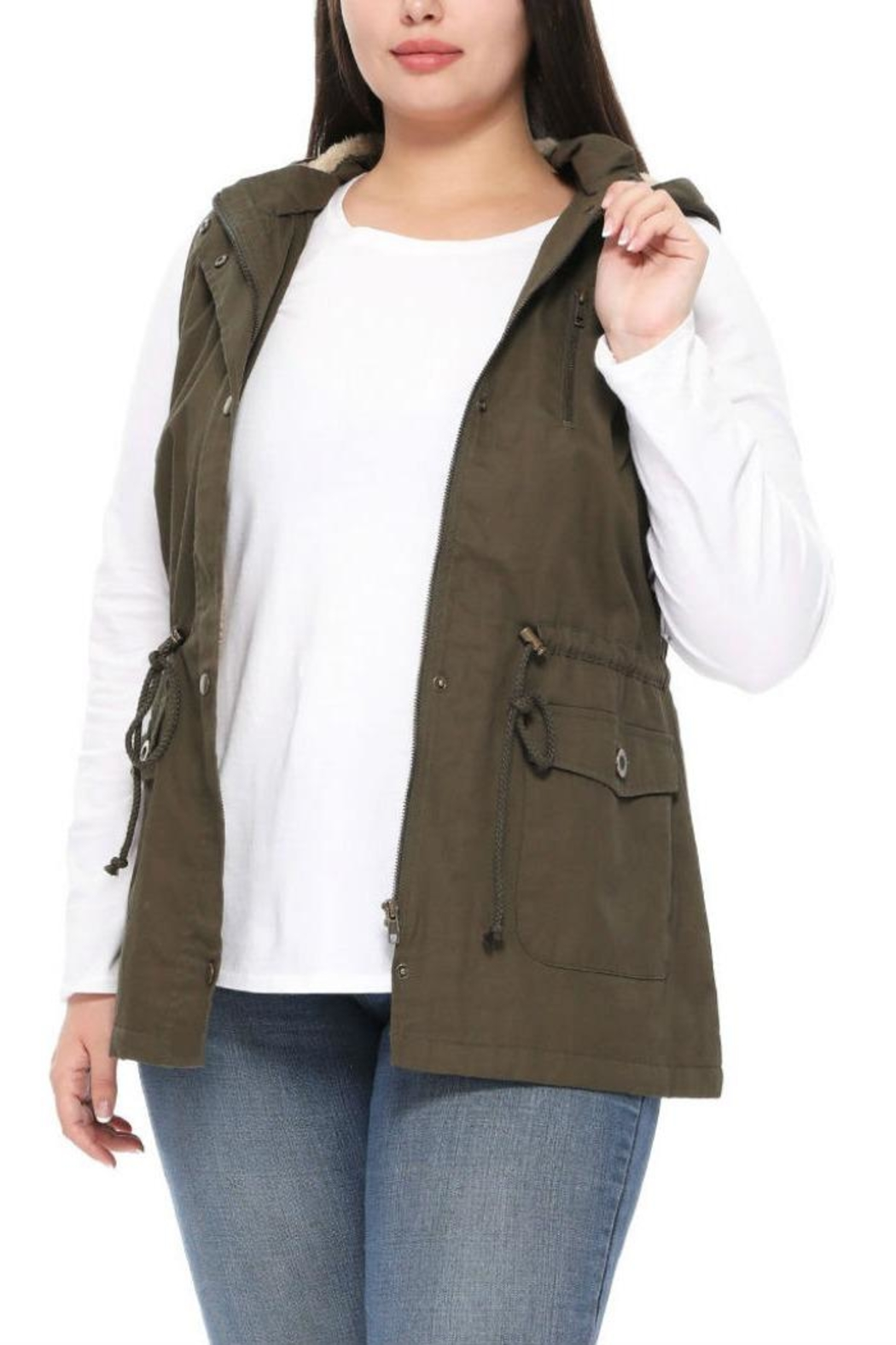 1 Funky Plus Size Military Vest - Front Full Image