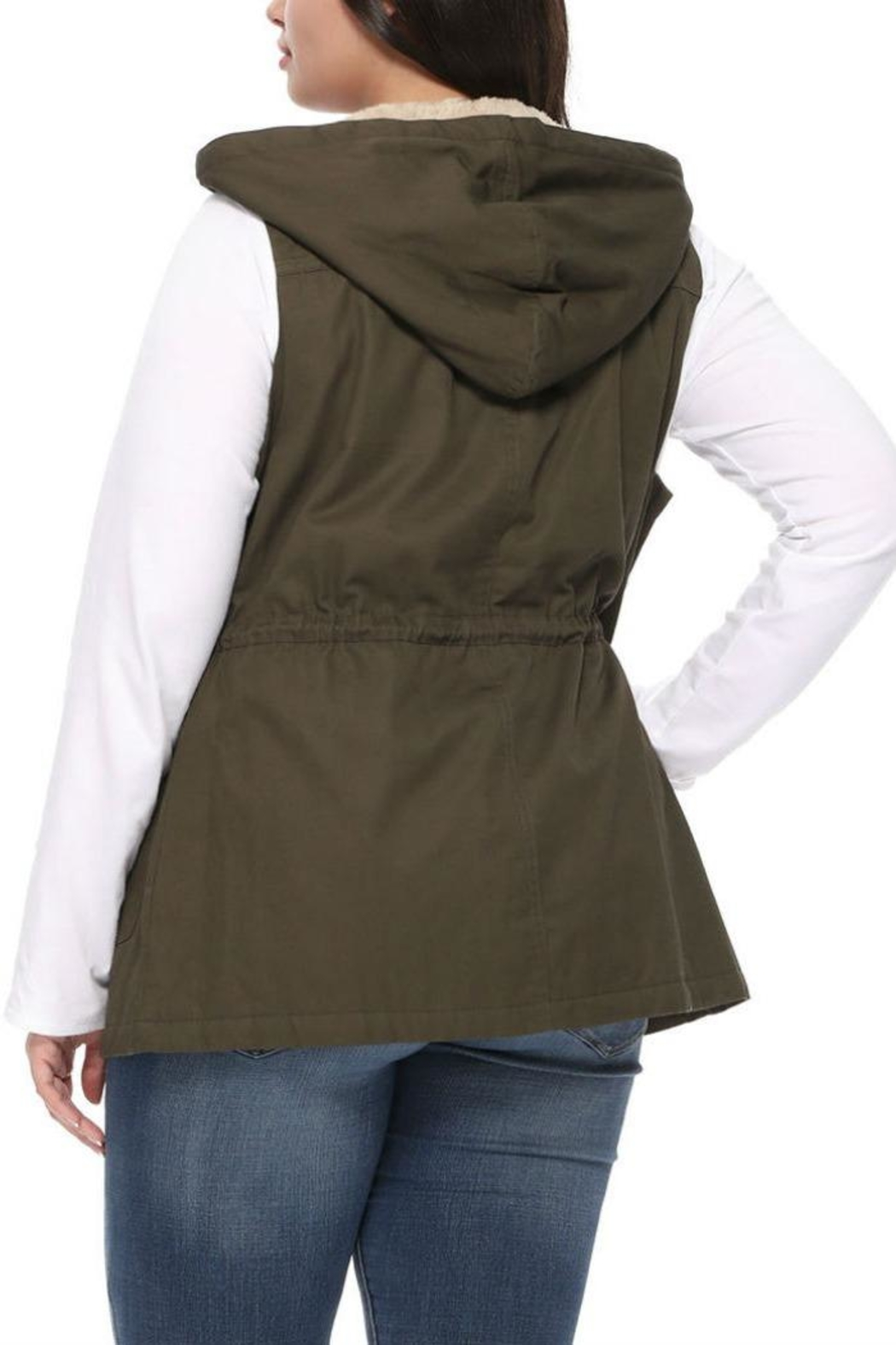 1 Funky Plus Size Military Vest - Side Cropped Image