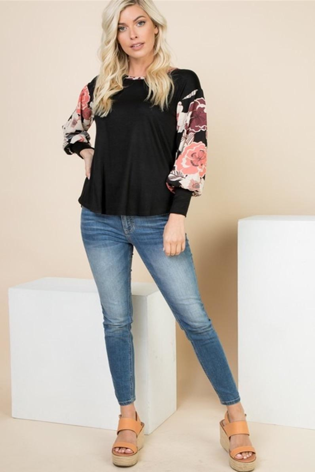 1 Mad Fit Floral Sleeve Top - Main Image