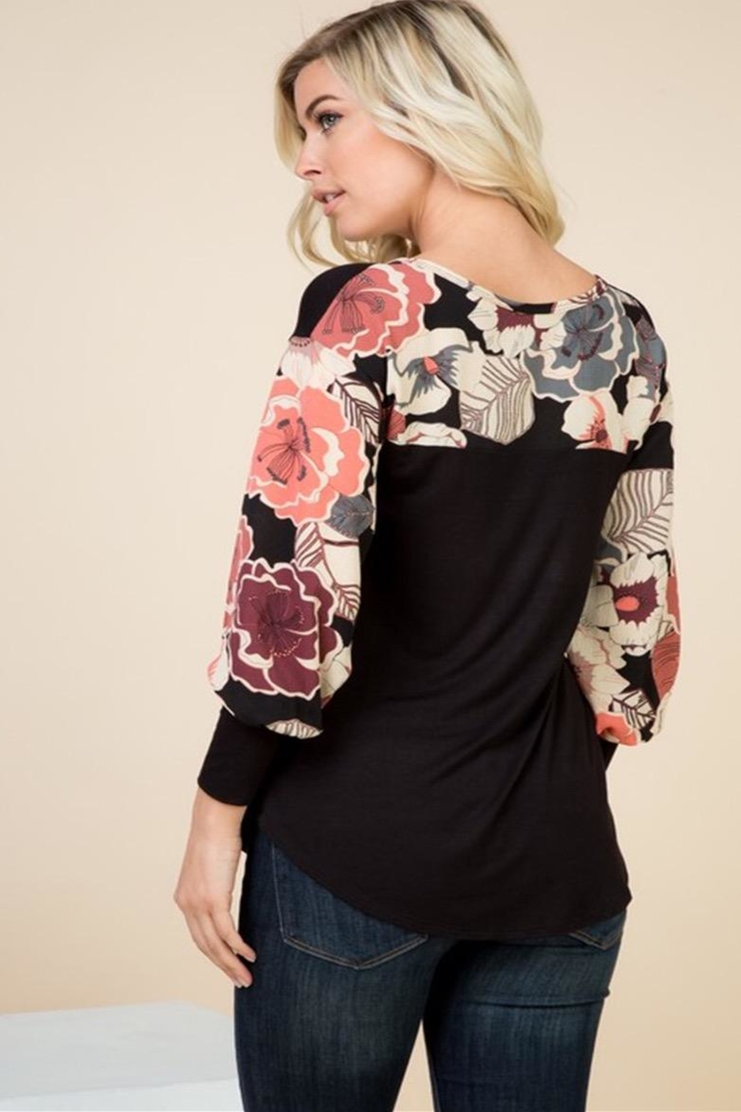 1 Mad Fit Floral Sleeve Top - Front Full Image
