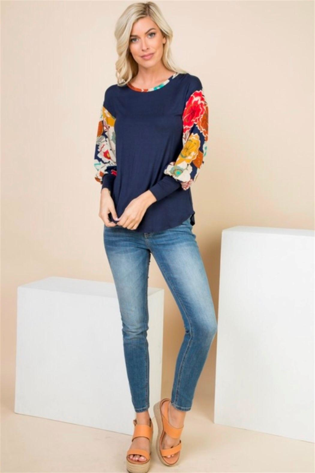 1 Mad Fit Floral Sleeve Top - Front Cropped Image