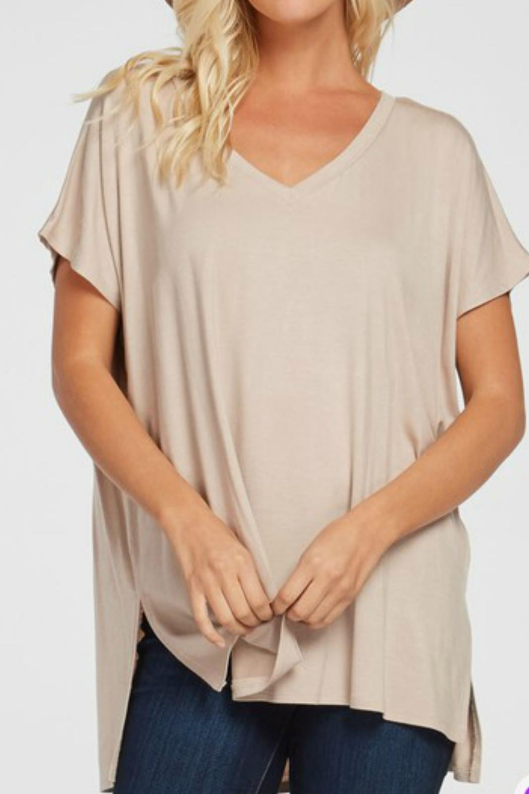 1 Style Side-Slit V-Neck Top - Front Cropped Image