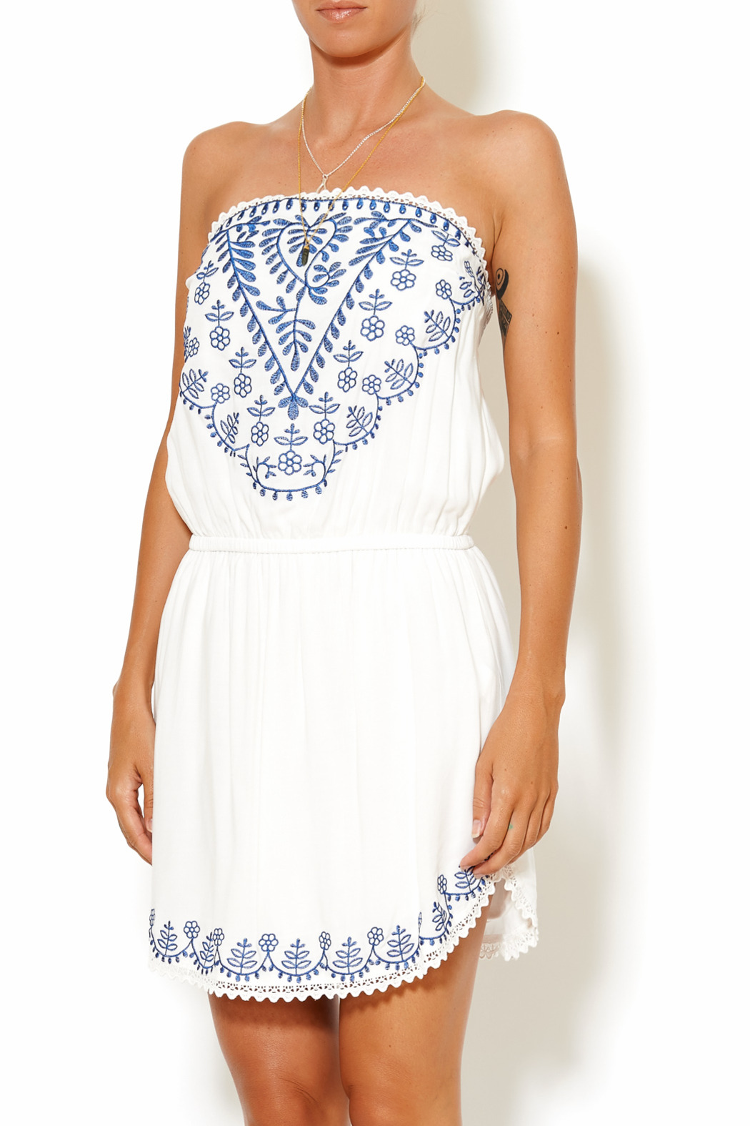 y&i clothing boutique Embroidered Tube Dress - Main Image