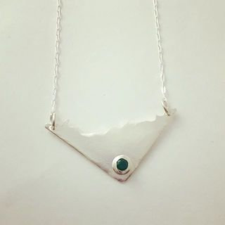Shoptiques Emerald Sterling Silver Necklace