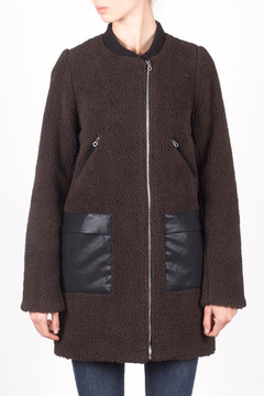 Members Only Faux Sherpa Boxy Coat - Product List Image