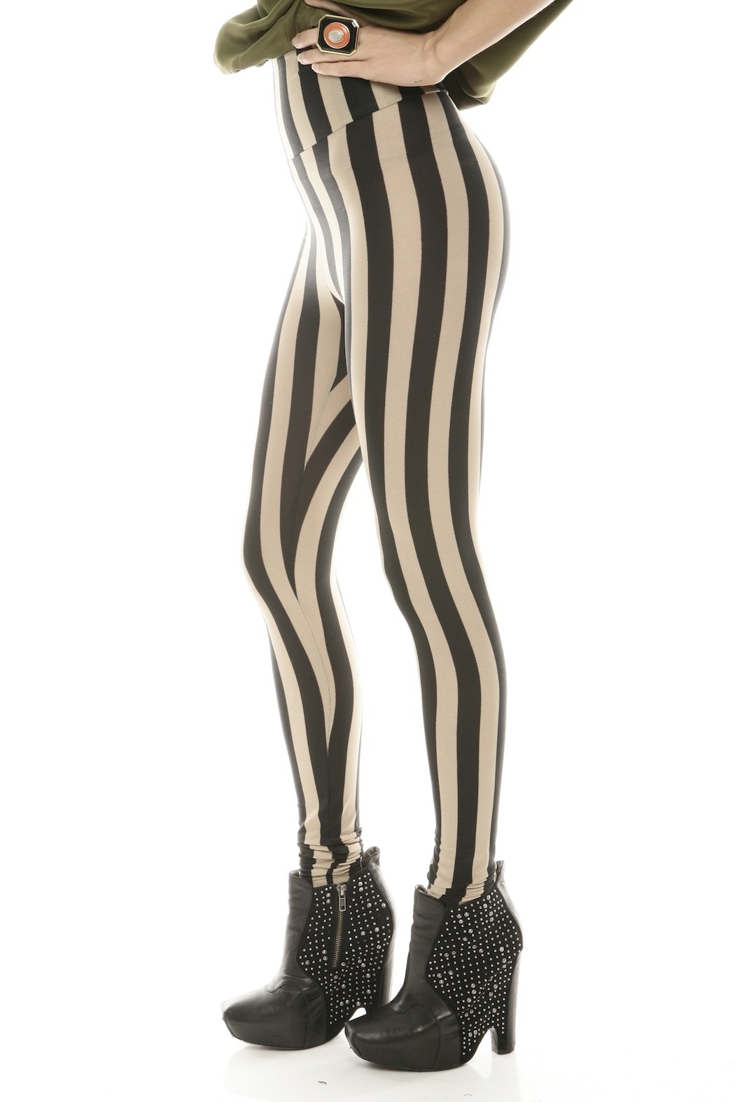 See You Monday Striped Leggings - Side Cropped Image